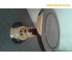 Wooden stools, fruit bowls, candle stands